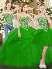 Ball Gowns Ball Gown Prom Dress Green Sweetheart Tulle Sleeveless Floor Length Lace Up