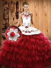 Eye-catching Organza Sleeveless Floor Length 15th Birthday Dress and Embroidery and Ruffled Layers