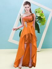 Popular Orange A-line Beading and Sequins Homecoming Dress Lace Up Elastic Woven Satin and Sequined Sleeveless High Low