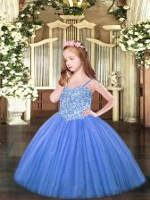Baby Blue Sleeveless Floor Length Appliques Lace Up Kids Pageant Dress