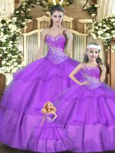 Cute Sleeveless Beading and Ruffles and Ruching Lace Up Quinceanera Gowns