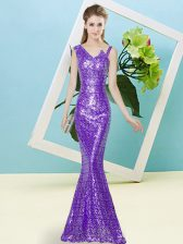 Custom Designed Lavender Zipper Asymmetric Sequins Prom Dress Sequined Sleeveless