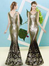 Glittering Floor Length Mermaid Sleeveless Gold Dress for Prom Zipper