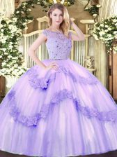 Shining Floor Length Lavender Sweet 16 Dress Tulle Sleeveless Beading and Appliques
