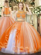 Deluxe Orange Red Organza Zipper Scoop Sleeveless Floor Length Sweet 16 Dresses Beading and Ruffles