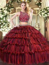Dynamic Burgundy Sleeveless Floor Length Beading and Ruffled Layers Zipper Sweet 16 Dresses