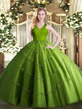 Chic Floor Length Ball Gowns Sleeveless Olive Green Vestidos de Quinceanera Zipper