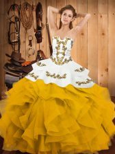 Glittering Sleeveless Lace Up Floor Length Embroidery and Ruffles Quinceanera Dress