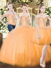 Admirable Orange Red Organza Lace Up Quinceanera Dress Sleeveless Floor Length Beading and Ruffles