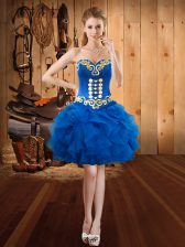 Exceptional Organza Sweetheart Sleeveless Lace Up Embroidery and Ruffles in Royal Blue