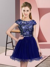 Mini Length A-line Cap Sleeves Blue Quinceanera Court of Honor Dress Zipper