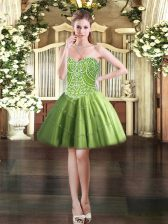 Tulle Sweetheart Sleeveless Lace Up Beading Prom Dresses in Olive Green
