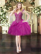Sleeveless Lace Up Mini Length Beading and Ruffles Homecoming Dress