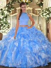 High Quality Two Pieces Quinceanera Dresses Baby Blue Halter Top Organza Sleeveless Floor Length Backless