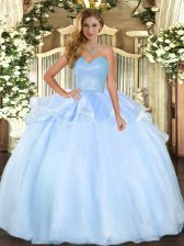 Cute Sweetheart Sleeveless Organza Quince Ball Gowns Beading and Ruffles Lace Up