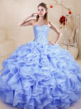 Floor Length Lavender Quinceanera Gowns Sweetheart Sleeveless Lace Up
