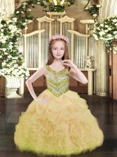 Floor Length Lace Up Girls Pageant Dresses Gold for Party and Quinceanera with Beading and Ruffles and Pick Ups