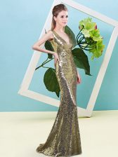 Yellow Sequined Zipper Dress for Prom Sleeveless Floor Length Sequins