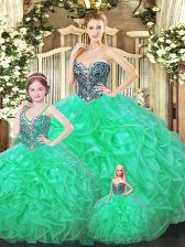 Fabulous Floor Length Green Quinceanera Gown Sweetheart Sleeveless Lace Up