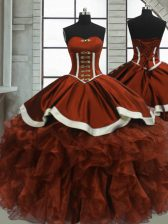 Rust Red Sweetheart Neckline Beading and Ruffles Ball Gown Prom Dress Sleeveless Lace Up