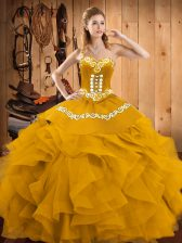 Captivating Sleeveless Lace Up Floor Length Embroidery and Ruffles Quince Ball Gowns