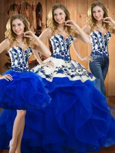Cheap Floor Length Blue Ball Gown Prom Dress Satin and Organza Sleeveless Embroidery and Ruffles