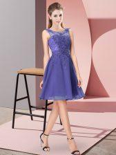 Lavender Scoop Zipper Appliques Dama Dress Sleeveless