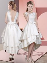 Fantastic White Satin Lace Up Scoop Sleeveless High Low Quinceanera Court Dresses Ruffled Layers