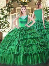Flirting Sleeveless Floor Length Beading and Ruffled Layers Side Zipper Sweet 16 Dress with Turquoise
