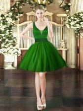 Elegant Dark Green Lace Up Prom Party Dress Beading Sleeveless Mini Length