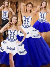 Stunning Royal Blue Lace Up Sweet 16 Dress Embroidery Sleeveless Floor Length