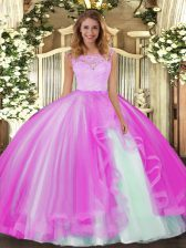 Hot Sale Tulle Sleeveless Floor Length Sweet 16 Dress and Lace and Ruffles
