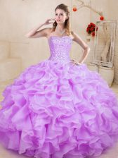 Floor Length Ball Gowns Sleeveless Lilac Ball Gown Prom Dress Lace Up