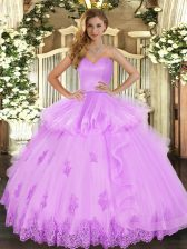 Sweetheart Sleeveless 15th Birthday Dress Floor Length Beading and Appliques and Ruffles Lilac Tulle