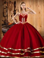 Red Sweetheart Lace Up Embroidery Quinceanera Gown Sleeveless