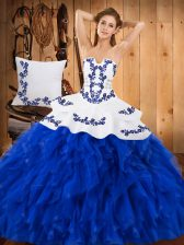 Beautiful Blue And White Strapless Lace Up Embroidery and Ruffles Quinceanera Dress Sleeveless