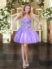 Fashionable Sweetheart Sleeveless Prom Party Dress Mini Length Appliques and Ruffles Lavender Tulle