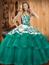 Eye-catching Embroidery Quinceanera Dresses Turquoise Lace Up Sleeveless Sweep Train
