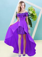 Classical Elastic Woven Satin and Sequined Short Sleeves High Low Homecoming Dress and Beading