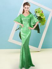 Delicate Sequined Half Sleeves Floor Length Dress for Prom and Sequins