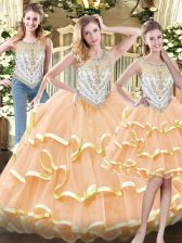 Elegant Sleeveless Floor Length Beading and Ruffled Layers Zipper Quinceanera Gown with Peach