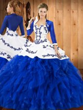 Sleeveless Embroidery and Ruffles Lace Up Sweet 16 Quinceanera Dress