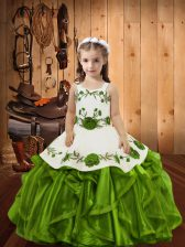 Sleeveless Embroidery and Ruffles Lace Up Pageant Dress for Girls