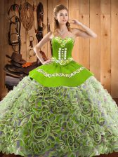 Multi-color Sweetheart Lace Up Embroidery 15 Quinceanera Dress Sweep Train Sleeveless