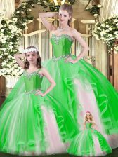 Affordable Organza Sleeveless Floor Length Ball Gown Prom Dress and Ruffles