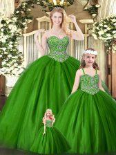 Popular Green Sleeveless Beading Floor Length Ball Gown Prom Dress