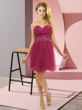Traditional Fuchsia Sleeveless Tulle Zipper for Prom and Party