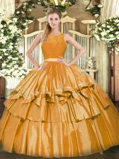 Most Popular Gold Two Pieces Tulle Scoop Sleeveless Ruffled Layers Floor Length Zipper Quinceanera Dress