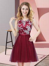 Beautiful Sleeveless Side Zipper Mini Length Lace Quinceanera Dama Dress