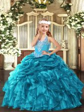 Floor Length Teal Pageant Dress for Teens V-neck Sleeveless Lace Up